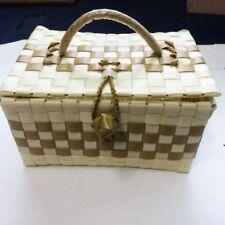 VINTAGE PLASTIC WEAVE MULTI-PURPOSE STORAGE BOX LIGHT AND SIMPLE TRAVEL SIZE