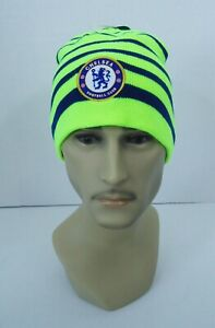 Chelsea FC BEANIE Soccer Sports Cap Knit Hat Yellow Neon New