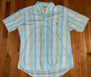 Mens Duck Heads 100% Cotton Short Sleeve Dress Shirt BD Collar Striped Size L
