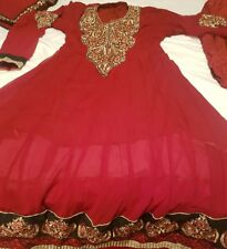 gold and red anarkali asian party dress/ clothes