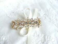 Bridal Wedding Vintage Style Crystal Rhinestone Gold Bracelet/Cuff With Ribbon