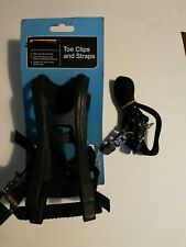 HALFORDS Bicycle TOE CLIPS & STRAPS Hold Pedal Hard-wearing Resin - BRAND NEW