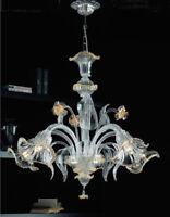Lampadario in vetro di Murano classico Giulio da soffitto chandelier 6 luci oro