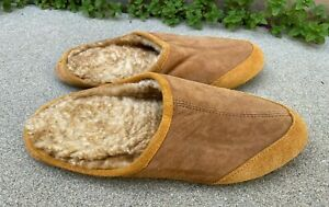 L.L. Bean Men's Leather Suede Sherpa Shearling House Slippers Shoes | 11