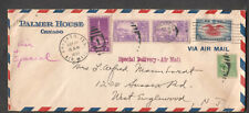 1939 air mail special delivery cover Palmer House Chicago to West Englewood NJ