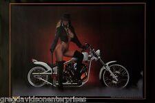 White Thunder 24x36 80's Pin Up Girl Poster Custom Sled Harley Davidson