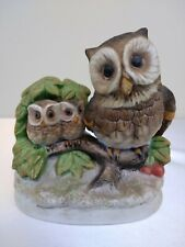 Vintage Owl figurine Homco Home Interiors Porcelain Mother Owl & Two Babies