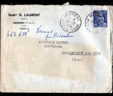 """HERMENT (63) SCIERIE / BOIS """"Ets S. LAURENT"""" Voyagée en 1951"""
