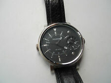 Fossil Dual men's blk leather band quartz battery water resistant watch.Fs-4244
