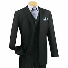 VINCI Men's Black 3 Piece 3 Button Classic Fit Suit w/ Matching Vest NEW