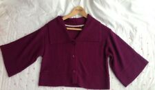 FAT FACE Dark Purple Alpaca Wool Mix Short Cardigan Wide Bat Sleeves Small 10 12