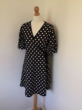 Very Dress UK 14 Black White Polka Dot Retro Kitsch Faux Wrap Over Short Cute