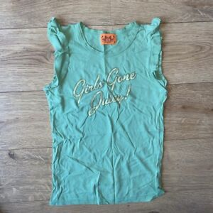 RARE Juicy Couture S Girls Gone Juicy! Ruffled Green Tee T-Shirt Small Y2K