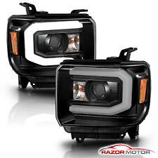 [Led Switchback] 14-18 Gmc Sierra 1500Hd;15-19 2500Hd/3500Hd Black Headlight (Fits: Gmc)