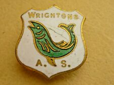 More details for vintage fishing enamel badge wrightons angling society button hole fitting