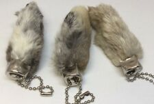 3 x Real Rabbit Foot Lucky Keychain NATURAL GREY Vraie Patte de Lapin Chanceuse