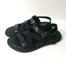 Born Manta Women's 7 Black Leather Slingback Sandals