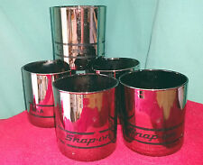 Set of 5 Vintage SNAP-ON TOOLS Chromed CHROME 10 oz ROCKS Cocktail GLASSES GLASS