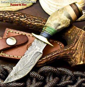 Custom HandMade Damascus Steel Blade Hunting Miniature Knife | Ram's Horn