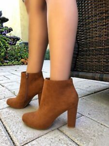 Bamboo Amuse-07 Round Toe Chunky Dress High Heel Ankle Boots Bootie