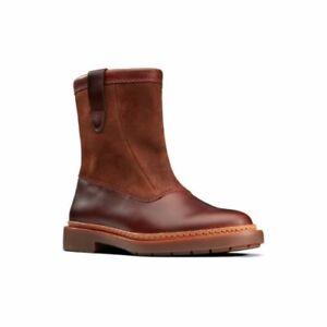 Clarks Trace Fern Tan Combi Leather Women's Boots Size UK 7 1/2D
