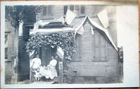 1910 Waverly, NY Realphoto Postcard: Patriotic Home/USA Flags - New York