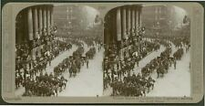 Victory March of London's Own Regiments; saluting Lord Mayor - WW1 Stereoview