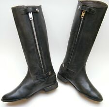 WOMENS GOLDEN GOOSE DISTRESSED GREEN FLAT ZIP KNEE HIGH LEATHER RIDING BOOTS 38