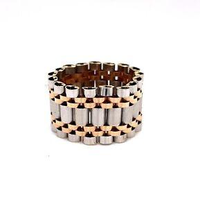 18k Solid White & Rose Gold Mens Free Form Link Ring 9.5 Gr Size 10.5