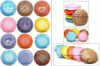 "16"" Round Cushion Pillow Cover Silk Brocade Sofa Floor Throw Indian Ethnic Decor"