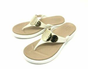 Crocs Sanrah Embellished Wedge Flip Sandals Women's Size 7,9,10 OYSTER/GOLD >NEW