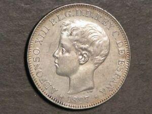 PHILIPPINES 1897SG-V 1 Peso Silver Crown XF-AU