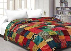 Kantha handmade indian patchwork cotton quilt bedspread blanket queen size throw