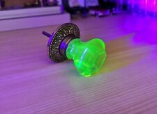 1 ANTIQUE Drawer KNOB  - URANIUM  GREEN Glass -  Pulls Handles  35  40 mm