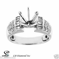 Semi Mount Engagement Ring Round and Princess 0.49ct Diamonds in 18k White Gold