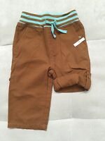 New Baby Boy Mini Boden Pants Shorts Brown 12-18 Month Cotton Pull On