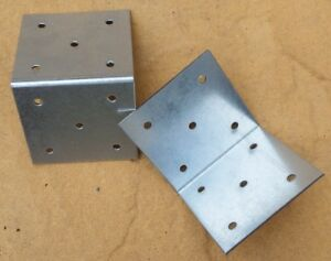 "2 x Large 3""x3"" (75x75mm) Strong Railway Sleeper Corner Fixing Brackets"