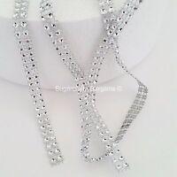 2 ROW SILVER Diamante Bling Sparkling Diamond Effect Cake Craft Ribbon