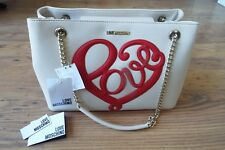 Love Moschino Cream & Red Handbag With Chain Straps Genuine. New With Tags