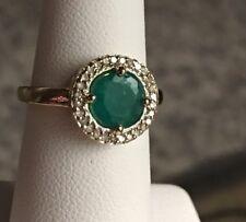 10k Gold Emerald Diamond Halo Ring Size 6