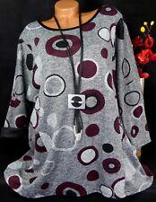 Tunika Pullover Kleid Lagenlook Longshirt Lagenlook Taschen Kreise 46 48 50