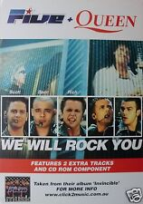 "Five + Queen ""We Will Rock You"" Australian Promo Poster - Rock Music"
