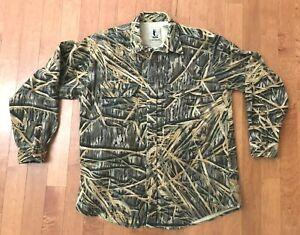 Mossy Oak Shadow Grass Mens Shirt Cotton Flannel Camo XL Hunting Camoflague