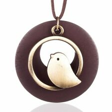 Large Bird Circle Pendant Bronze Wooden with Adjustable Leather Chain Necklace