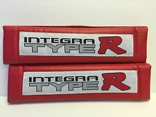 INTEGRA Type R 2Pcs  RED Pleather Embroidery Car Seat Belt Shoulder Pads NEWcute