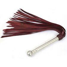 Genuine//Cuir véritable Rouge /& Noir Tressé Chat O Neuf Queues Flogger Steel Rivets