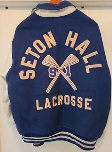 Vtg 90s Seton Hall Lacrosse Varsity Letterman's Jacket Mens XL Pirates NCAA