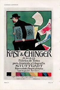 Pluma y Lapiz KAST & EHINGER INK FACTORY Chromo-Litho Poster 1903