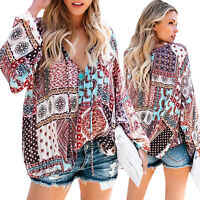 Women V Neck Gypsy Boho Floral Long Sleeve Tops Blouse Loose Baggy Tunic T Shirt