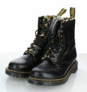 N5  $160 Women Sz 7 M Dr. Martens Serena Faux Fur Lined Boot In Black